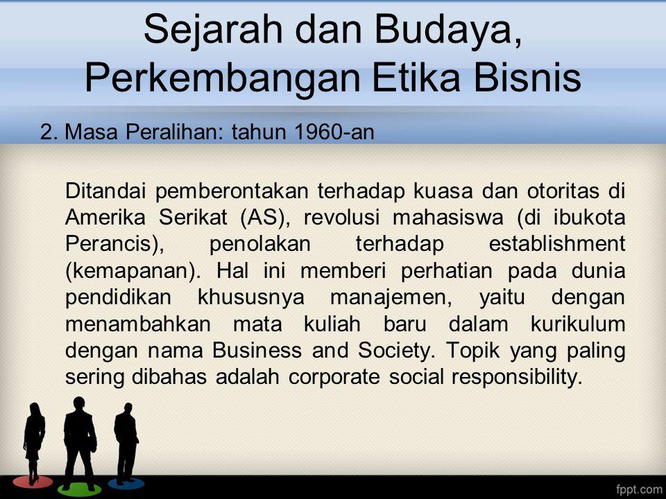 Sejarah dan Budaya, Perkembangan Etika Bisnis