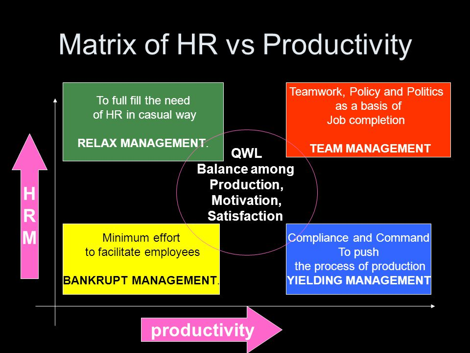 Matrix of HR vs Productivity