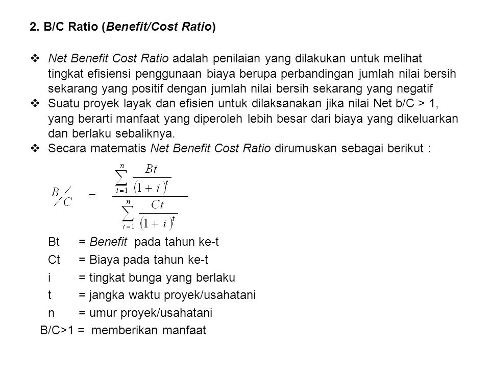 2. B/C Ratio (Benefit/Cost Ratio)