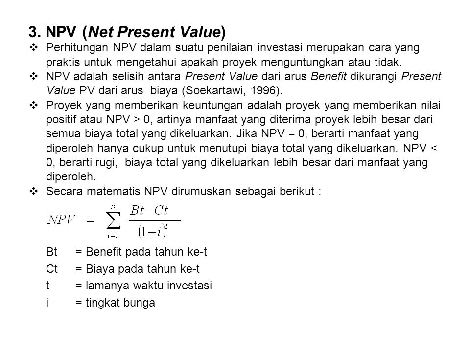 3. NPV (Net Present Value)
