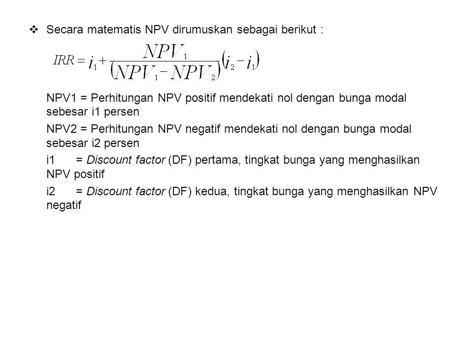 Secara matematis NPV dirumuskan sebagai berikut :