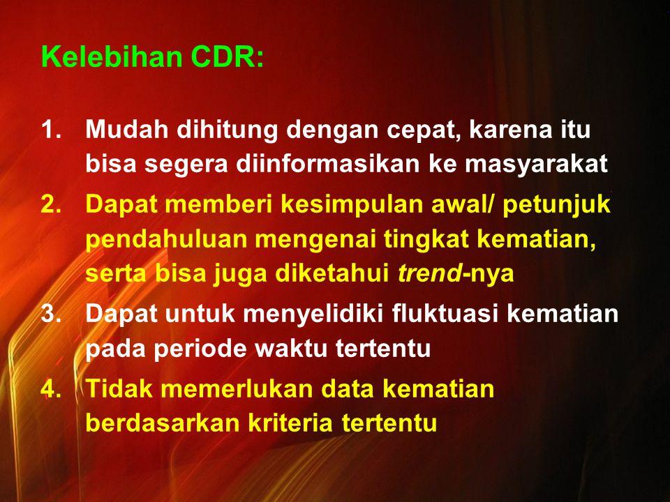 Kelebihan CDR: Mudah dihitung dengan cepat, karena itu bisa segera diinformasikan ke masyarakat.