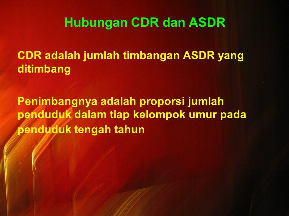 Hubungan CDR dan ASDR CDR adalah jumlah timbangan ASDR yang ditimbang