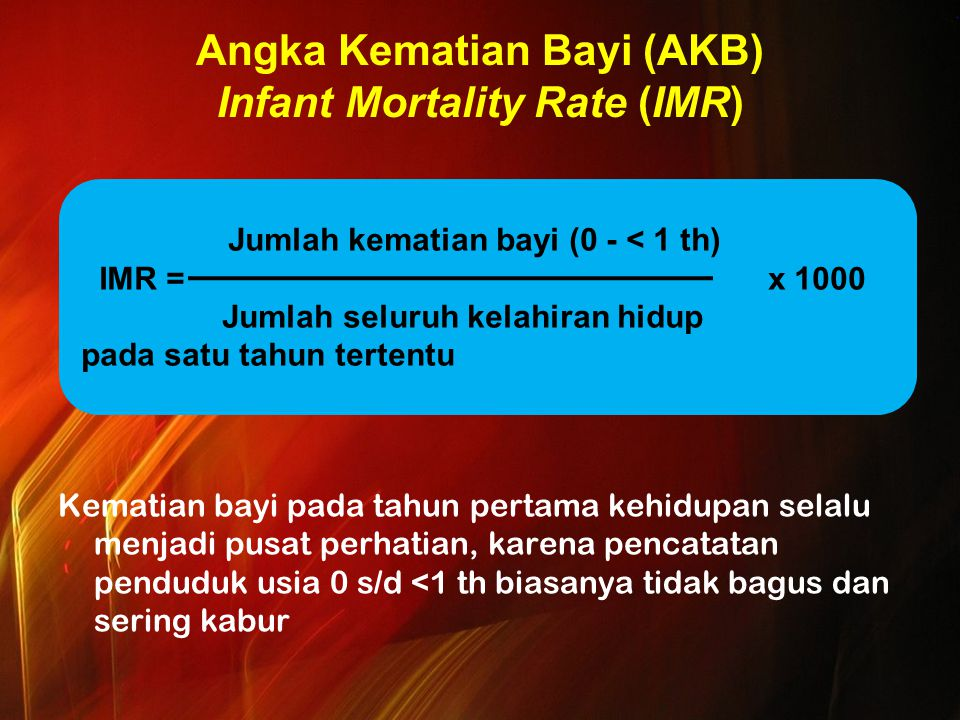 Angka Kematian Bayi (AKB) Infant Mortality Rate (IMR)