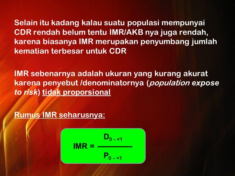 Selain itu kadang kalau suatu populasi mempunyai CDR rendah belum tentu IMR/AKB nya juga rendah, karena biasanya IMR merupakan penyumbang jumlah kematian terbesar untuk CDR IMR sebenarnya adalah ukuran yang kurang akurat karena penyebut /denominatornya (population expose to risk) tidak proporsional Rumus IMR seharusnya: