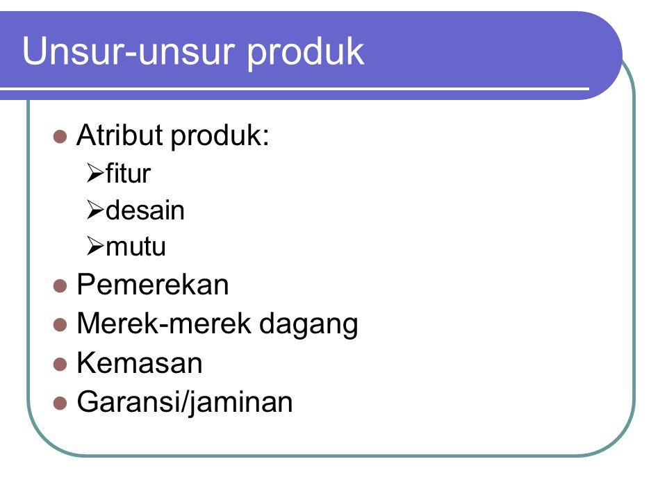 Unsur-unsur produk Atribut produk: Pemerekan Merek-merek dagang