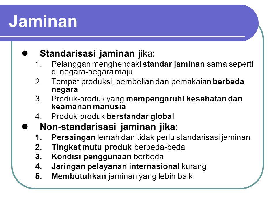 Jaminan Standarisasi jaminan jika: Non-standarisasi jaminan jika: