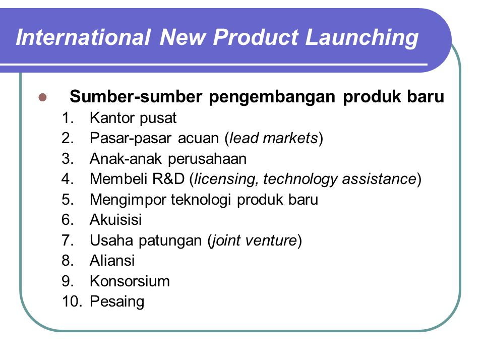 International New Product Launching