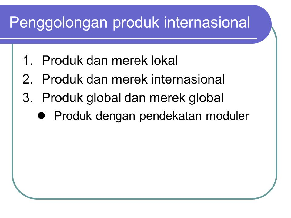 Penggolongan produk internasional