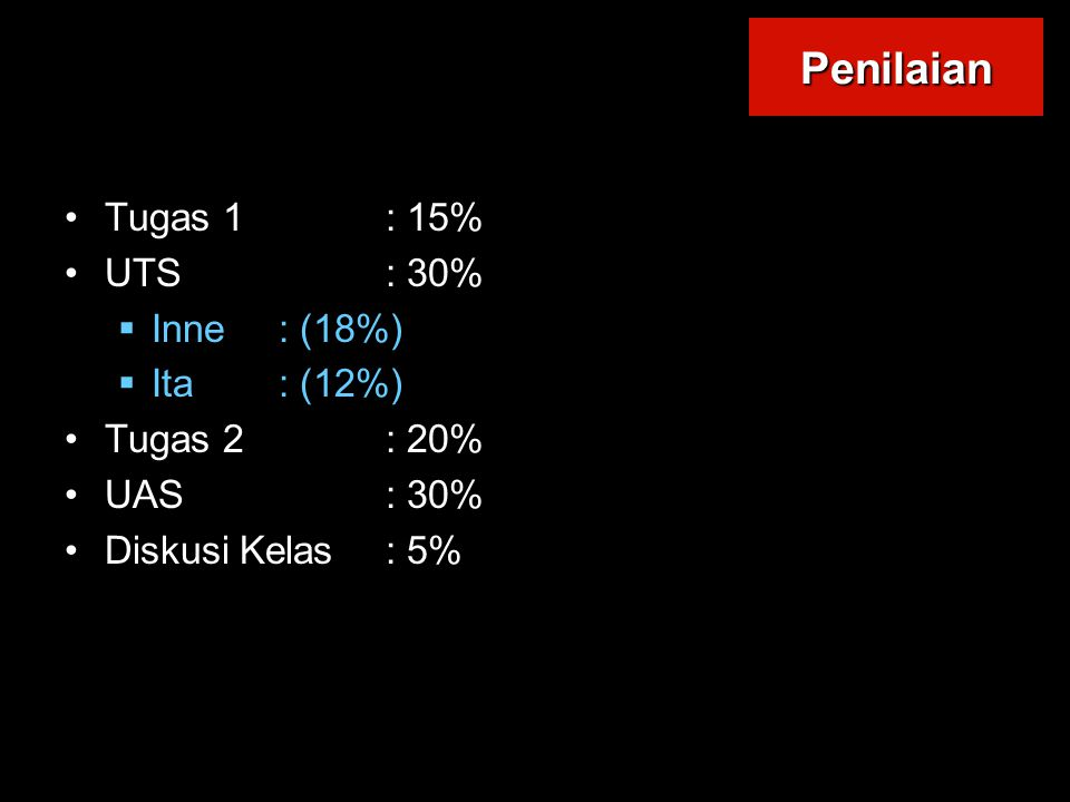 Penilaian Tugas 1 : 15% UTS : 30% Inne : (18%) Ita : (12%)
