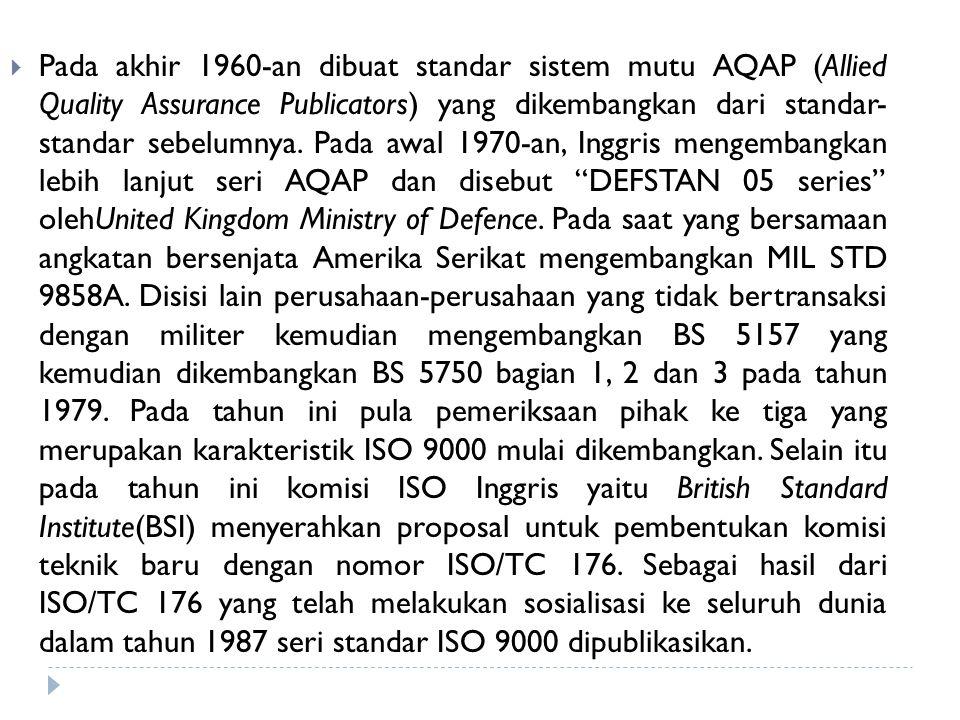 Pada akhir 1960-an dibuat standar sistem mutu AQAP (Allied Quality Assurance Publicators) yang dikembangkan dari standar- standar sebelumnya.