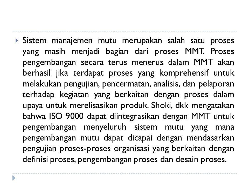 Sistem manajemen mutu merupakan salah satu proses yang masih menjadi bagian dari proses MMT.