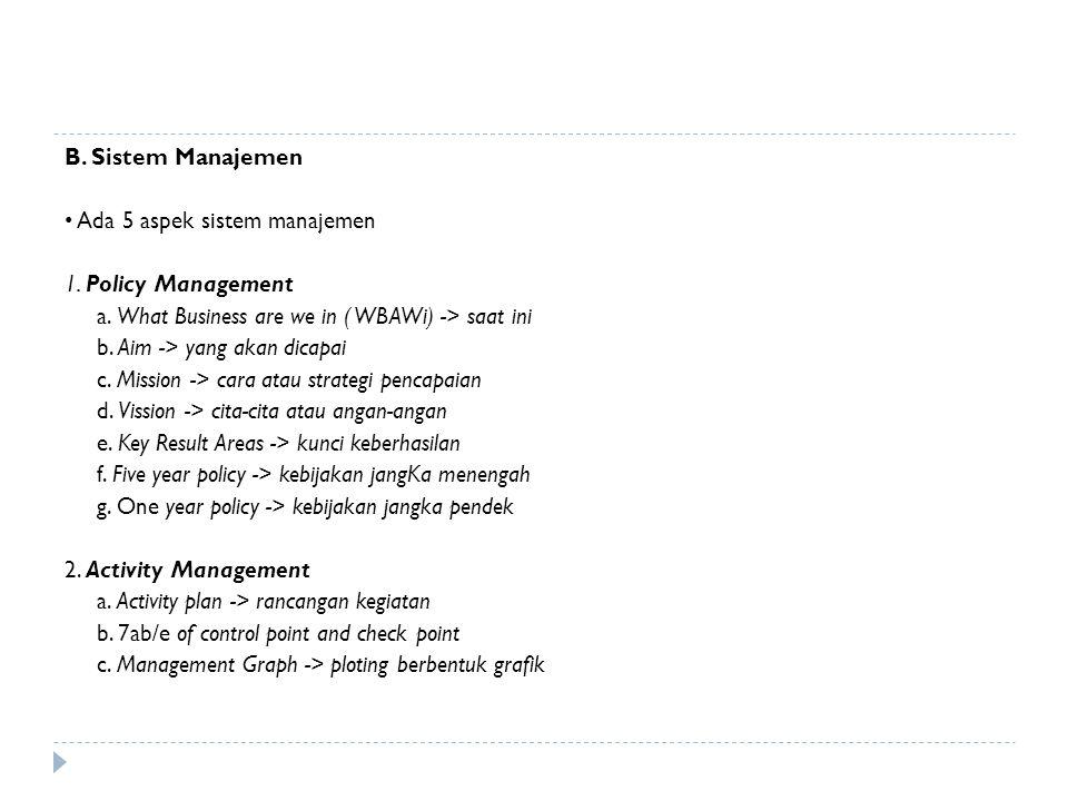 B. Sistem Manajemen • Ada 5 aspek sistem manajemen. 1. Policy Management. a. What Business are we in ( WBAWi) -> saat ini.
