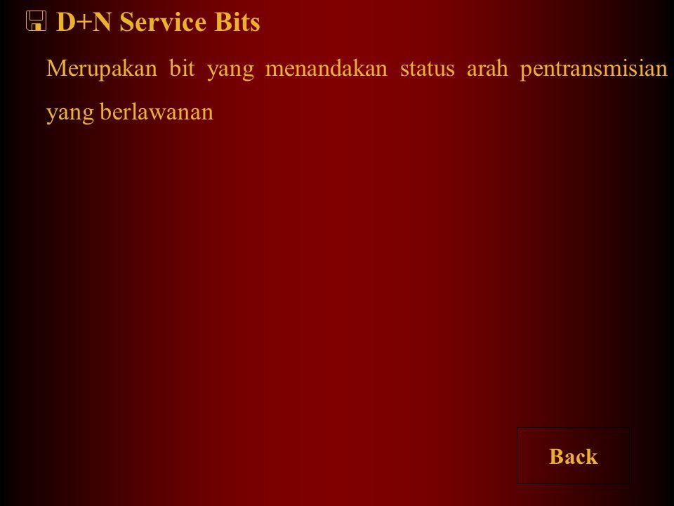 D+N Service Bits Merupakan bit yang menandakan status arah pentransmisian yang berlawanan Back