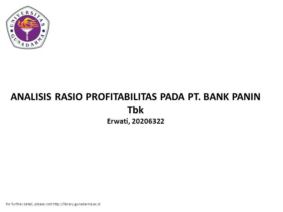 ANALISIS RASIO PROFITABILITAS PADA PT. BANK PANIN Tbk Erwati, 20206322