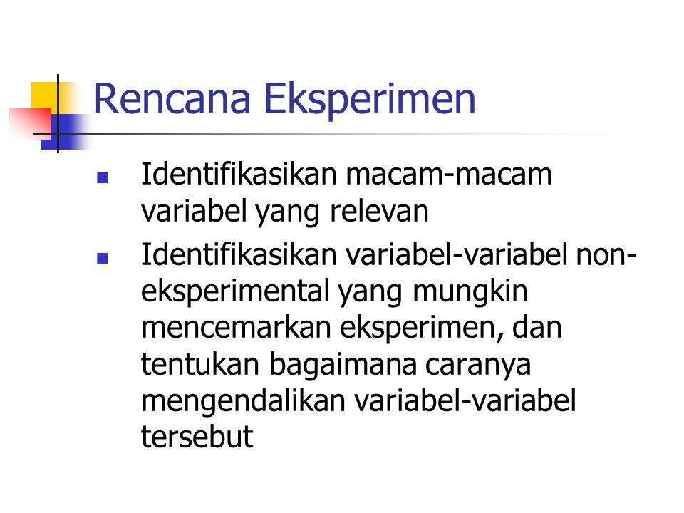 Rencana Eksperimen Identifikasikan macam-macam variabel yang relevan