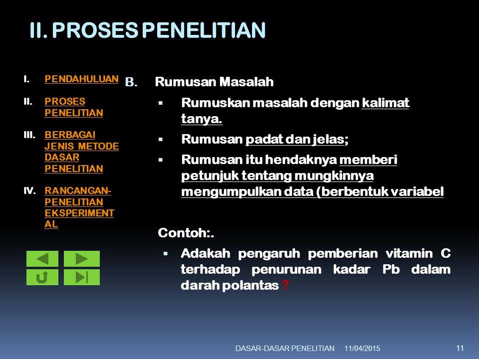 II. PROSES PENELITIAN Rumusan Masalah