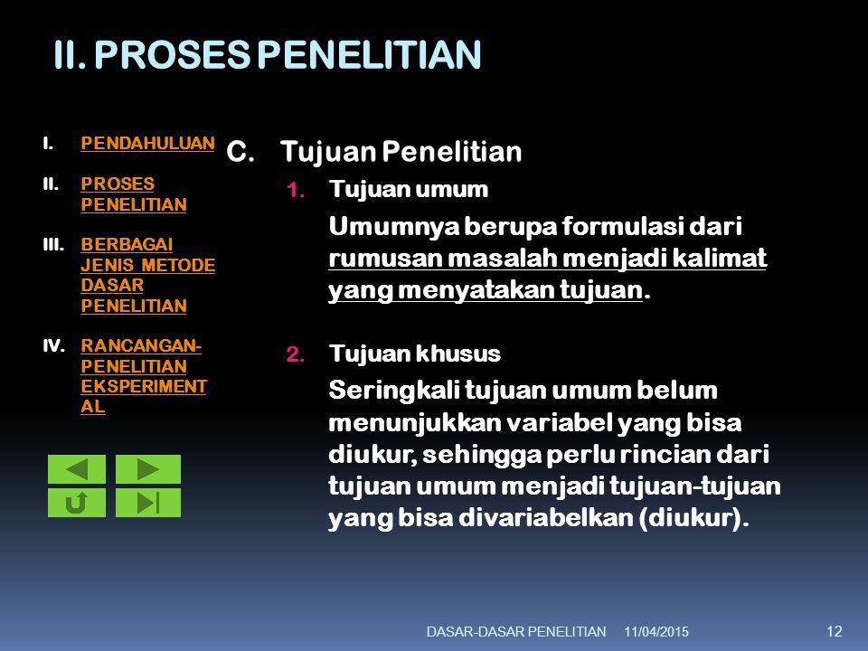 II. PROSES PENELITIAN C. Tujuan Penelitian