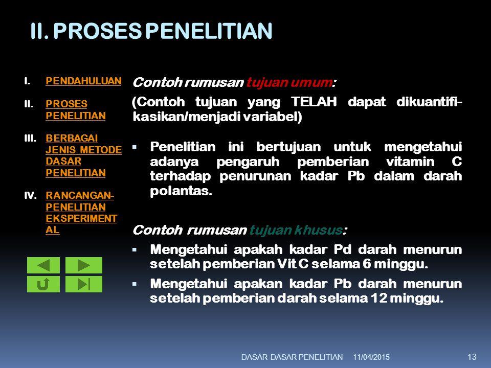 II. PROSES PENELITIAN Contoh rumusan tujuan umum: