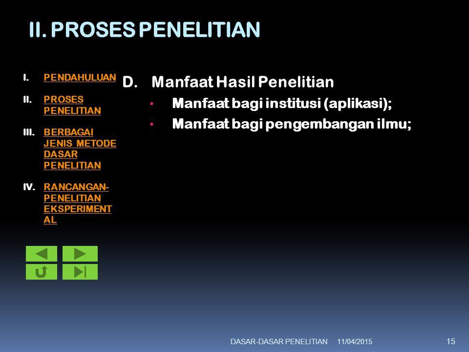 II. PROSES PENELITIAN D. Manfaat Hasil Penelitian
