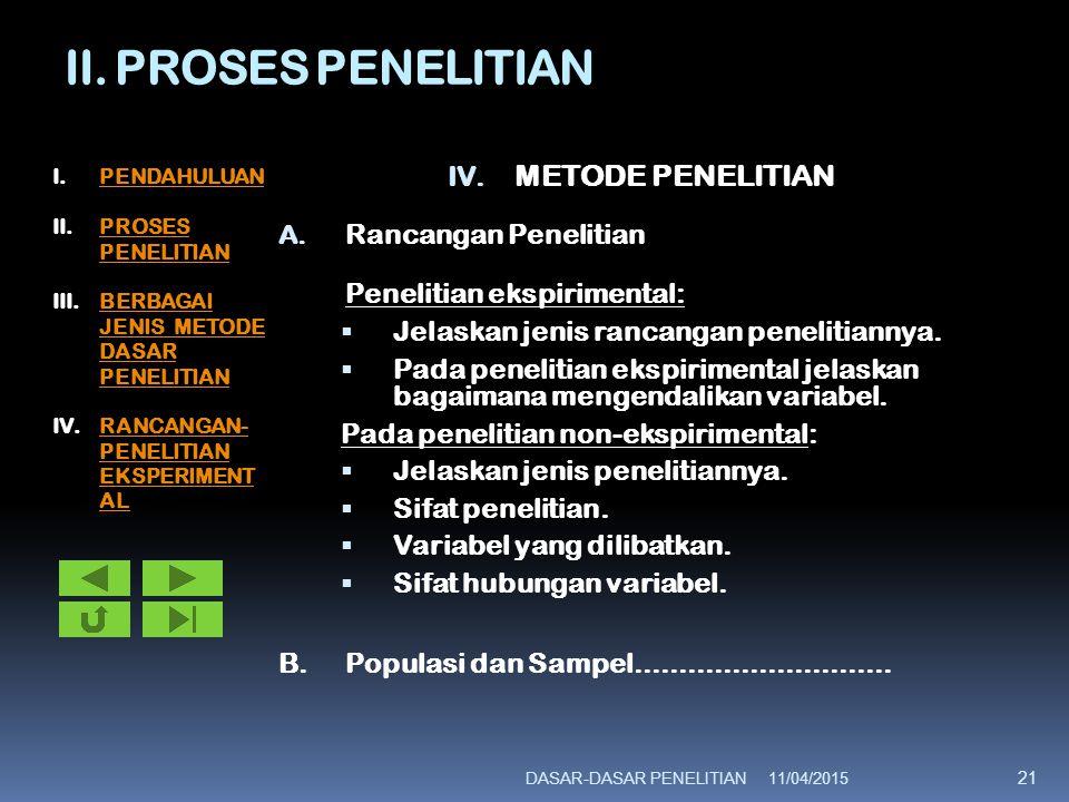 II. PROSES PENELITIAN METODE PENELITIAN Rancangan Penelitian