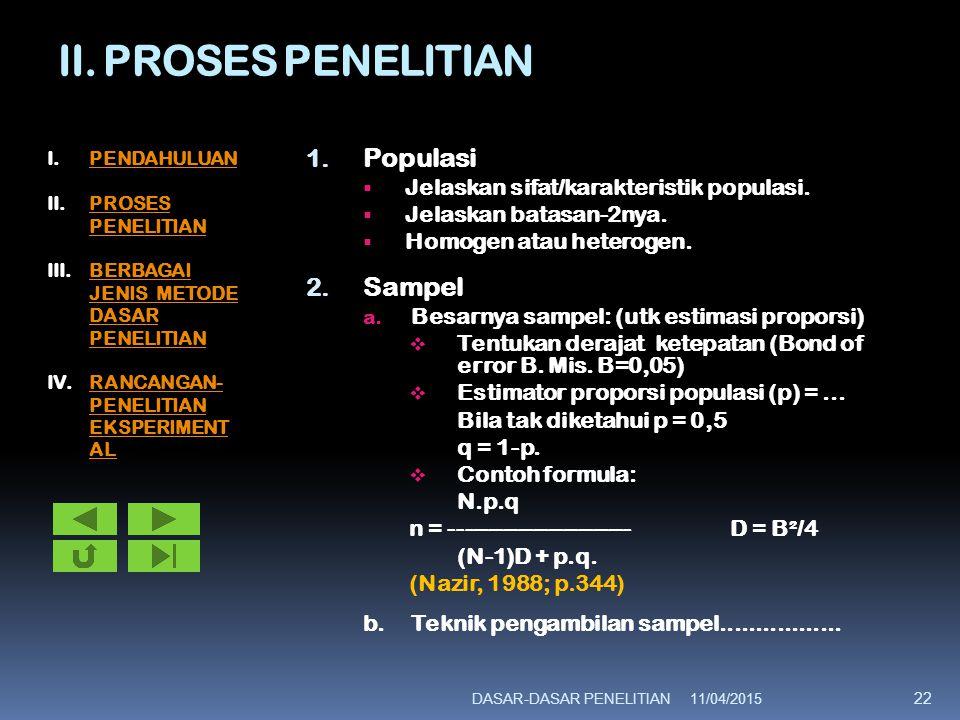 II. PROSES PENELITIAN Populasi Sampel