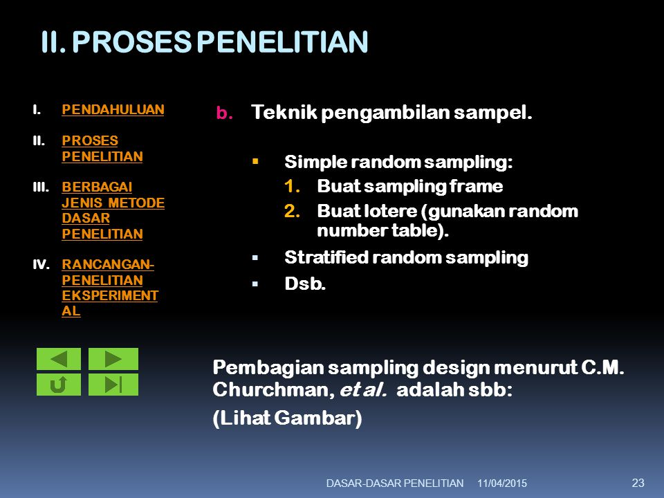 II. PROSES PENELITIAN Teknik pengambilan sampel.