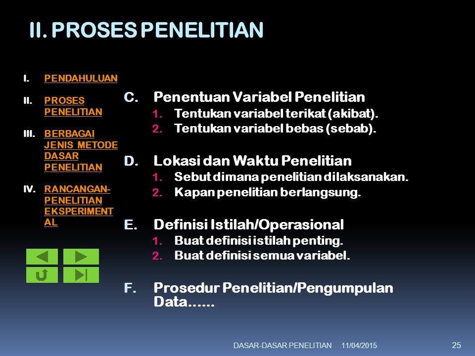 II. PROSES PENELITIAN Penentuan Variabel Penelitian