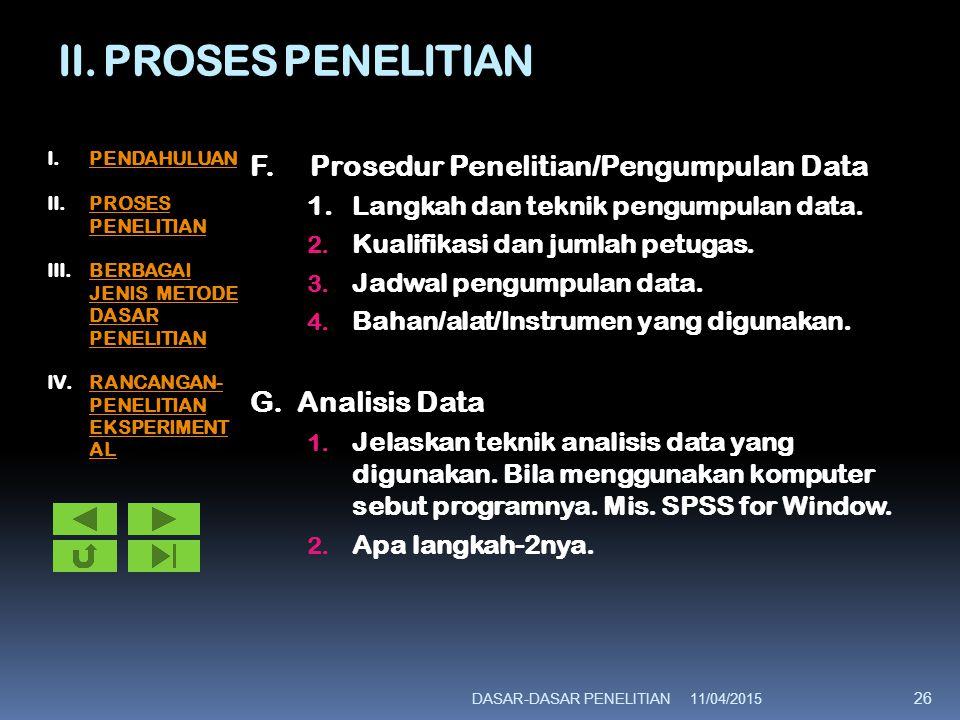 II. PROSES PENELITIAN F. Prosedur Penelitian/Pengumpulan Data