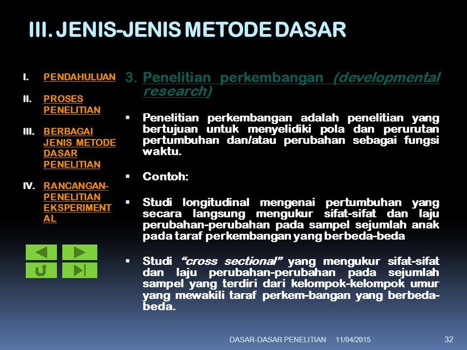 III. JENIS-JENIS METODE DASAR