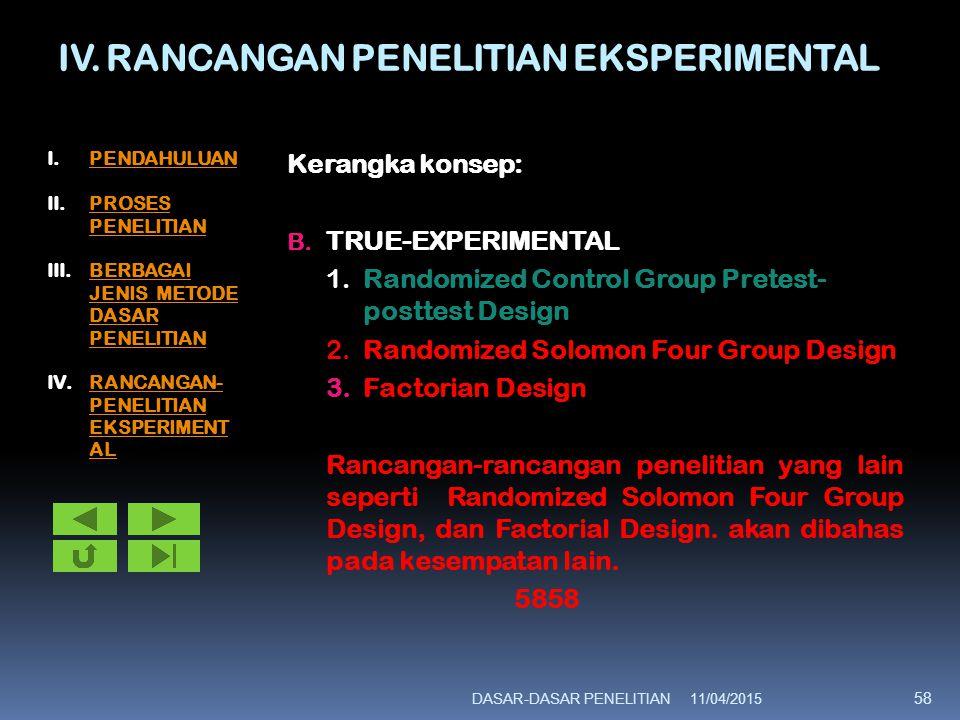 IV. RANCANGAN PENELITIAN EKSPERIMENTAL