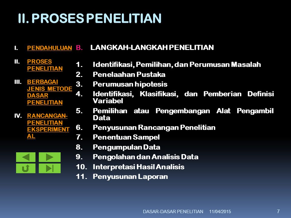 II. PROSES PENELITIAN LANGKAH-LANGKAH PENELITIAN
