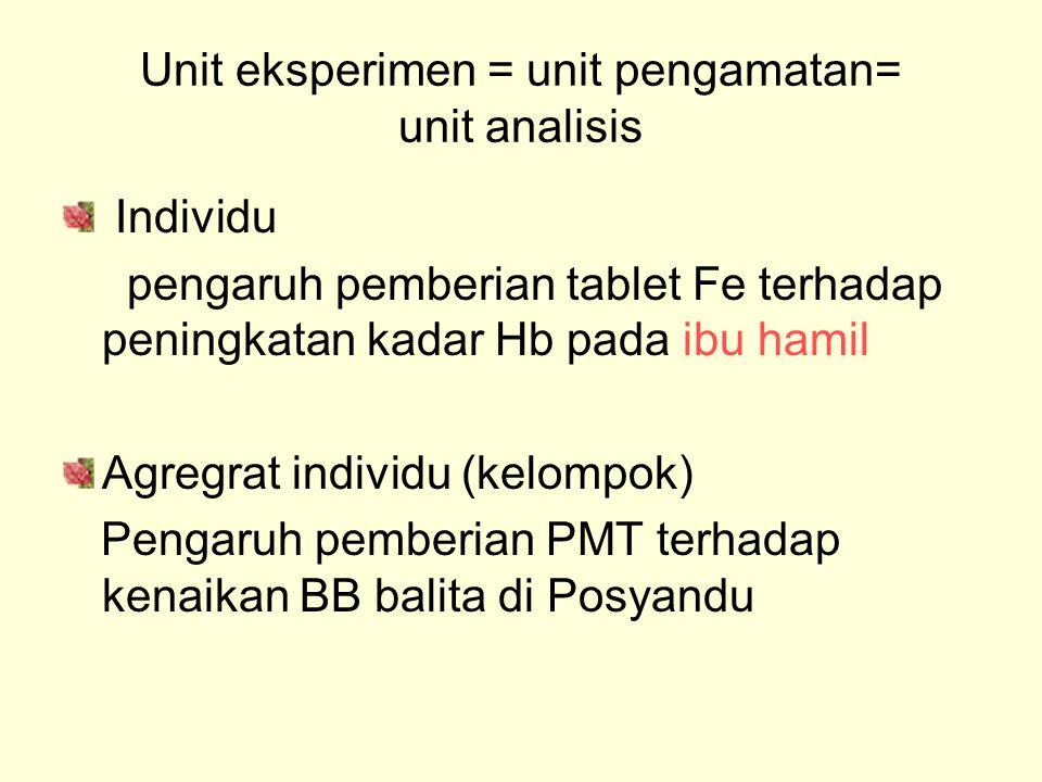 Unit eksperimen = unit pengamatan= unit analisis