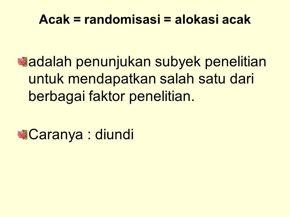 Acak = randomisasi = alokasi acak