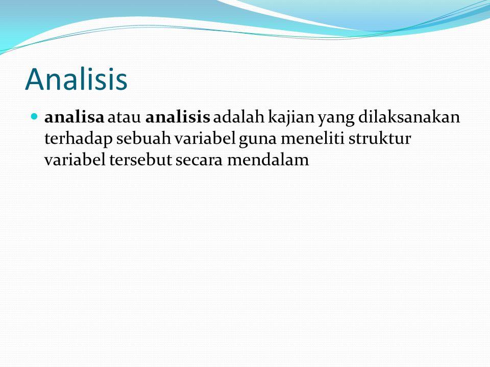 Analisis analisa atau analisis adalah kajian yang dilaksanakan terhadap sebuah variabel guna meneliti struktur variabel tersebut secara mendalam.