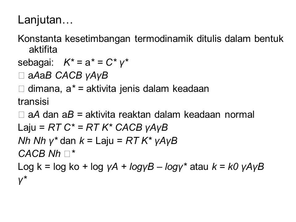 Lanjutan… Konstanta kesetimbangan termodinamik ditulis dalam bentuk aktifita. sebagai: K* = a* = C* γ*