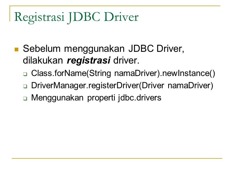 Registrasi JDBC Driver