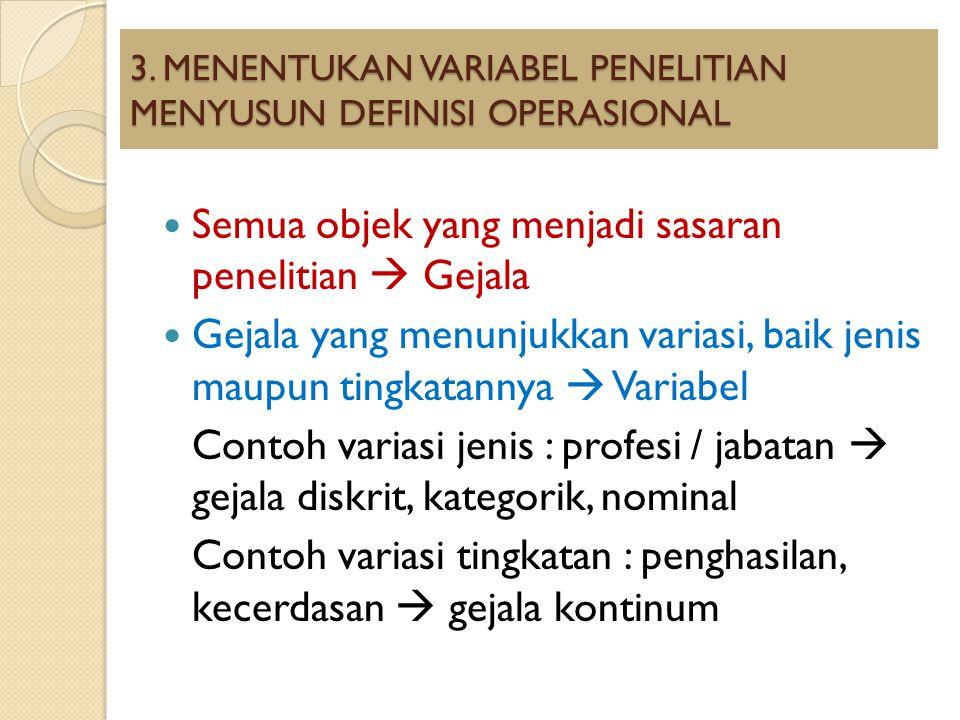 3. MENENTUKAN VARIABEL PENELITIAN MENYUSUN DEFINISI OPERASIONAL