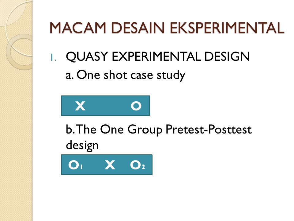 one shot case study experimental design One-shot design in using this design one group, typically called the experimental or treatment group, receives the intervention or program  case study design.
