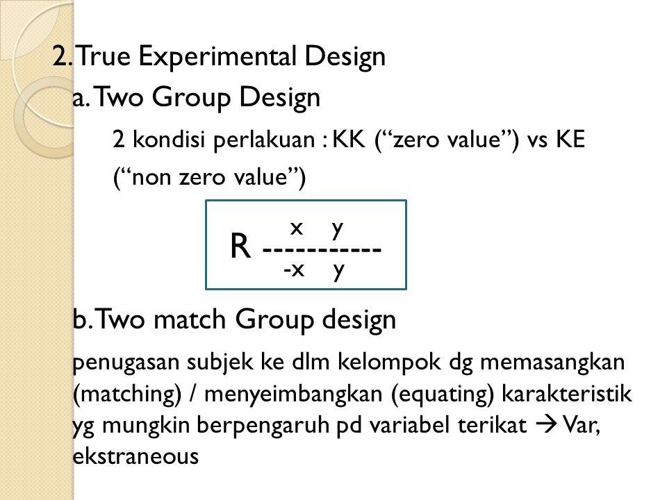 R ----------- 2. True Experimental Design a. Two Group Design