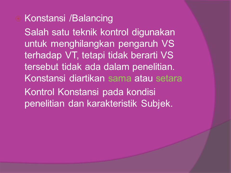 Konstansi /Balancing