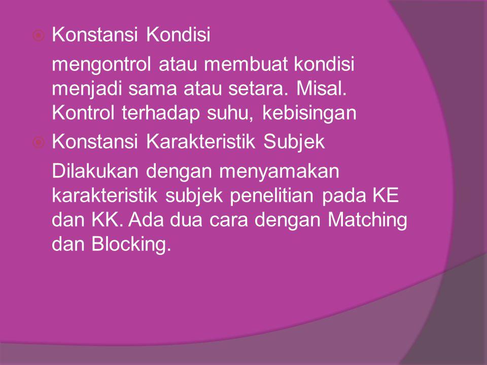 Konstansi Kondisi mengontrol atau membuat kondisi menjadi sama atau setara. Misal. Kontrol terhadap suhu, kebisingan.