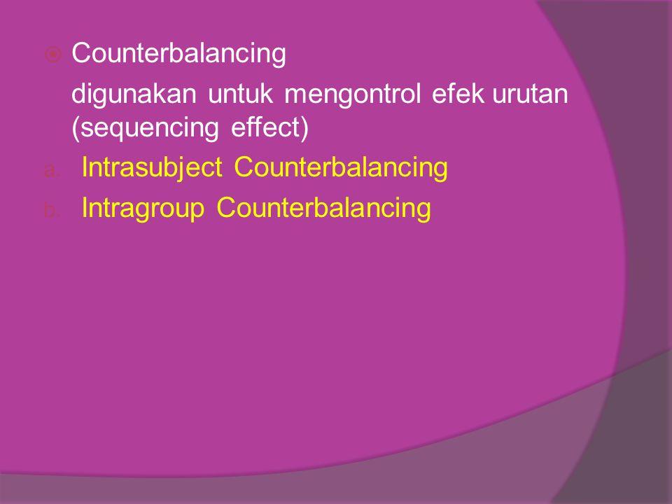 Counterbalancing digunakan untuk mengontrol efek urutan (sequencing effect) Intrasubject Counterbalancing.