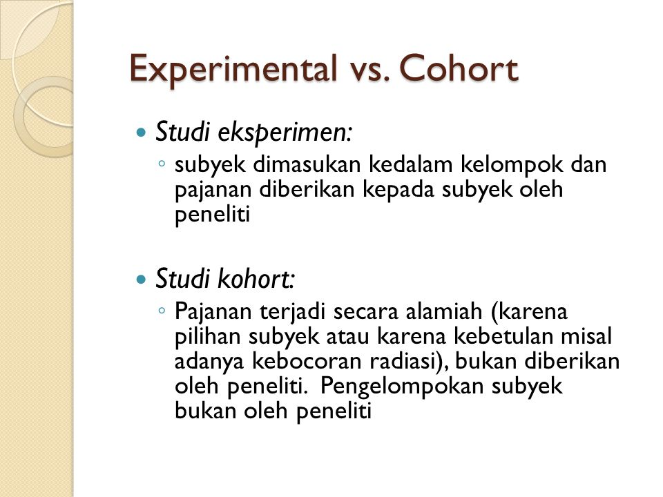 Experimental vs. Cohort
