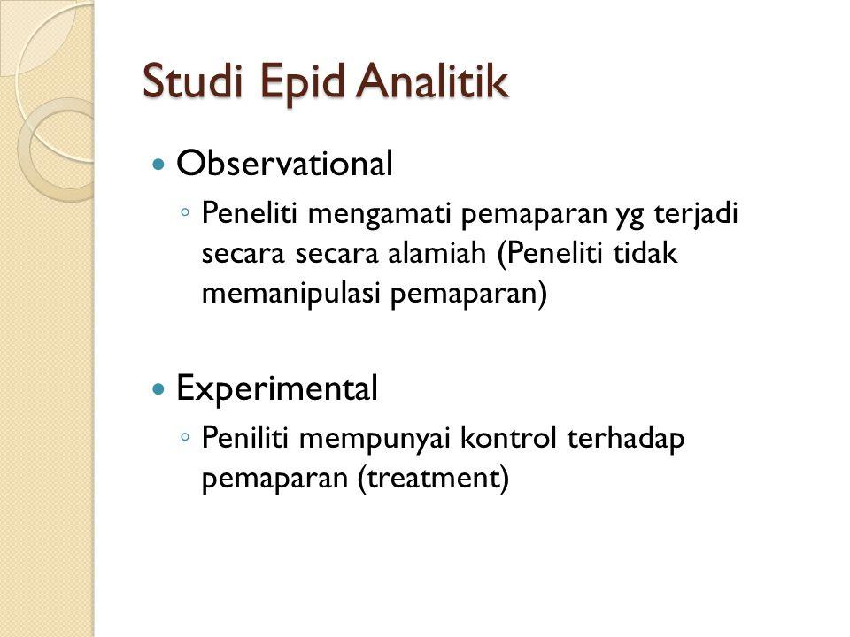 Studi Epid Analitik Observational Experimental