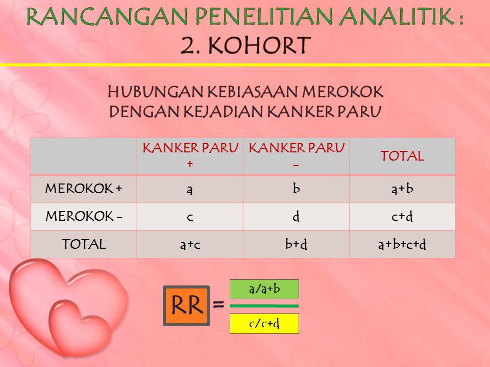 RR = RANCANGAN PENELITIAN ANALITIK : 2. KOHORT