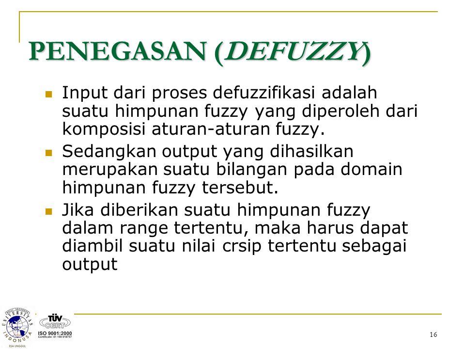 PENEGASAN (DEFUZZY) Input dari proses defuzzifikasi adalah suatu himpunan fuzzy yang diperoleh dari komposisi aturan-aturan fuzzy.