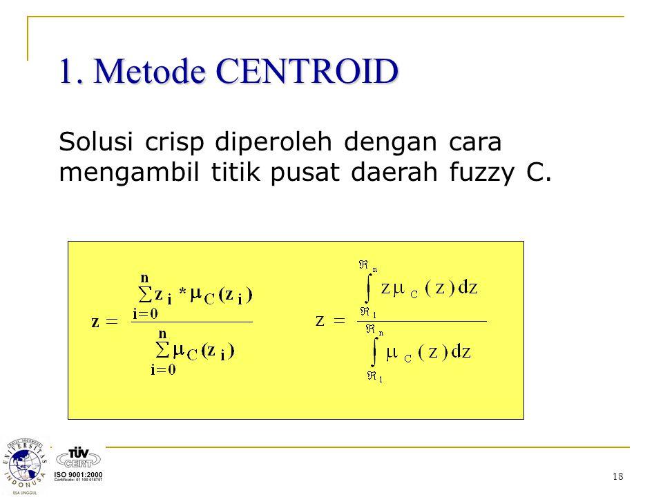 1. Metode CENTROID Solusi crisp diperoleh dengan cara mengambil titik pusat daerah fuzzy C.