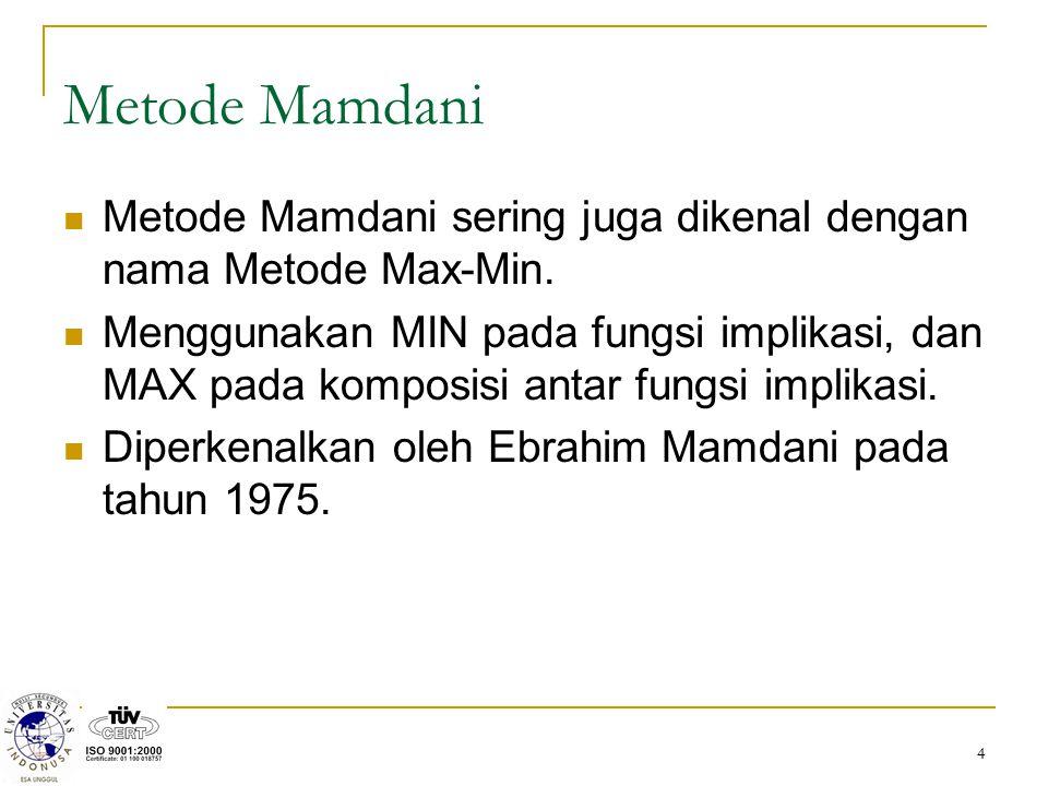 Metode Mamdani Metode Mamdani sering juga dikenal dengan nama Metode Max-Min.