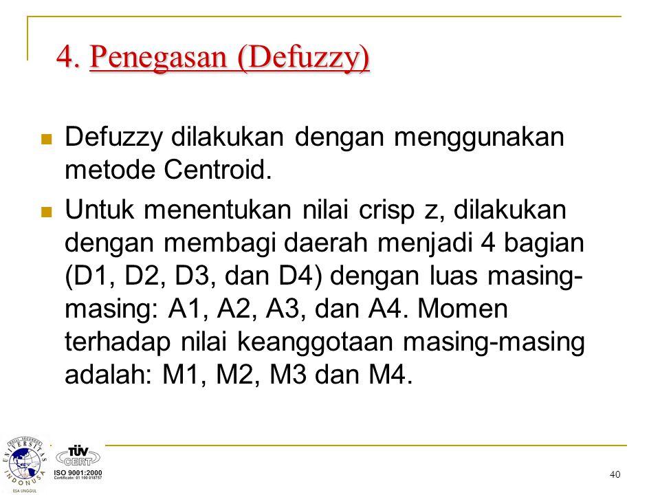 4. Penegasan (Defuzzy) Defuzzy dilakukan dengan menggunakan metode Centroid.